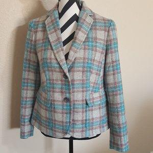 TALBOTS Wool Blend Plaid Blazer Jacket